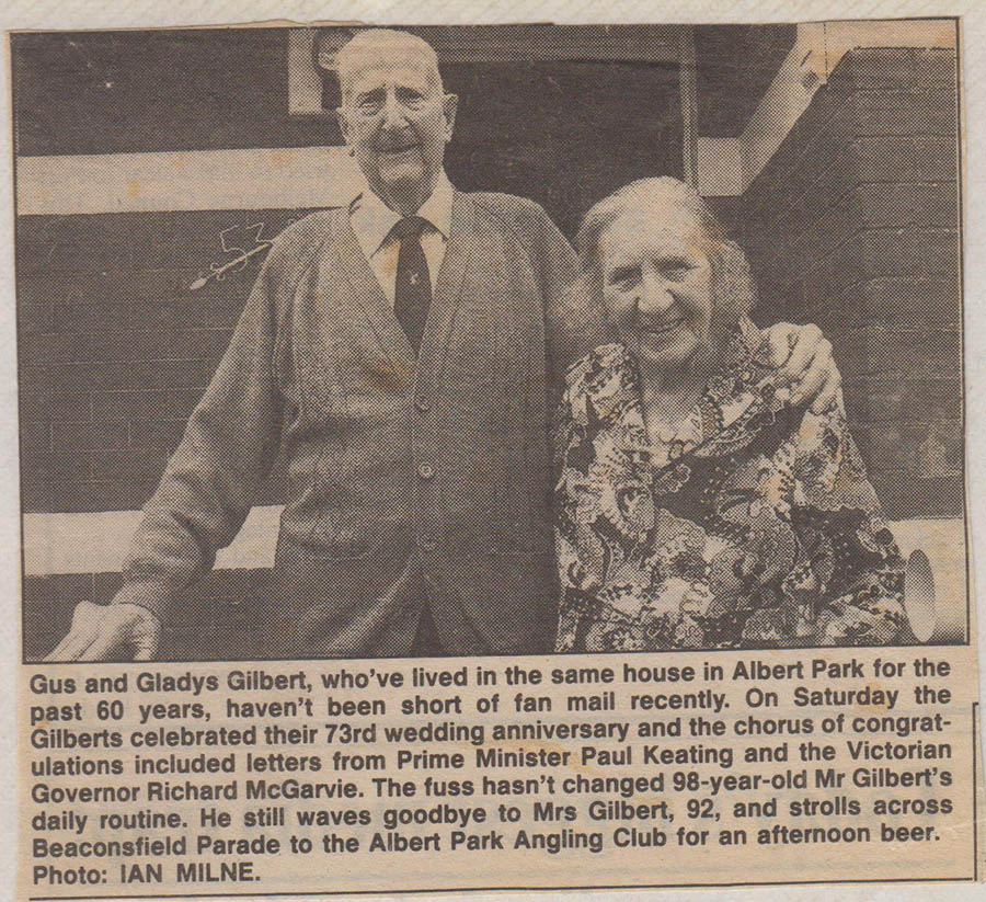 Gus And Gladys Gilbert 73 Years Paper Article 001