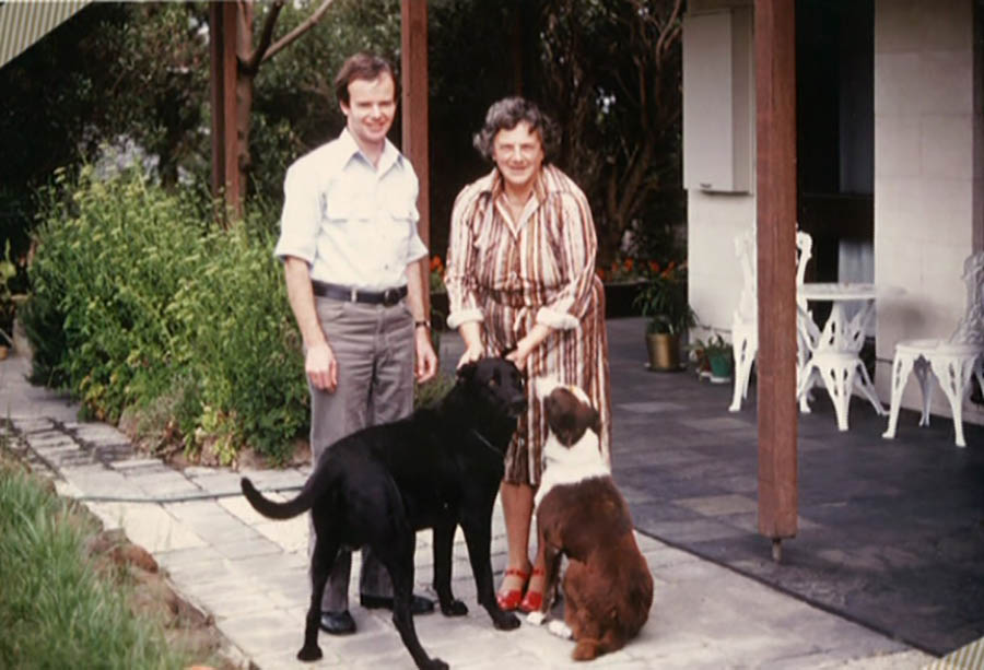 Ray With Kester And Their Dogs Jan Juc 1980